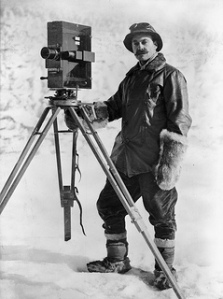 Herbert George Ponting and cinematograph, Antarctica, January 1912