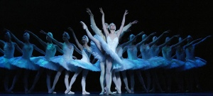 The corps de ballet, Odette and Siegfried in the ballet Swan Lake.