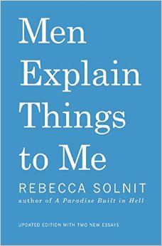 "The bright blue cover of ""Men Explain Things to Me"" by Rebecca Solnit."