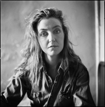 A black-and-white image of author Rebecca Solnit.