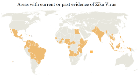 A map of all the countries affected by Zika
