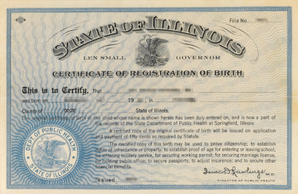 Illinois Birth Certificate Example