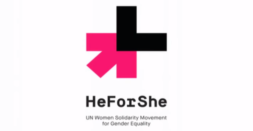 "The logo for ""HeForShe"", with the caption ""UN Women Solidarity Movement for Gender Equality""."