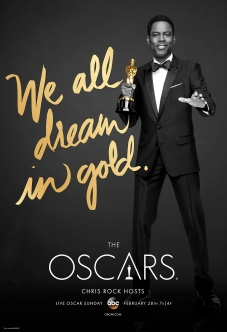"Chris Rock holds an Oscar award on a poster with text reading ""We all dream in gold""."