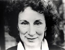 A black and white picture of author Margaret Atwood.