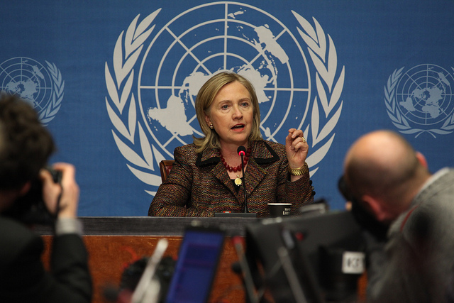 Hillary Clinton speaking in front of reporters. At the UN