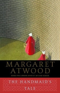Book cover of The Handmaid's Tale featuring an illustration of two women in red robes and white head coverings walking inside a walled space