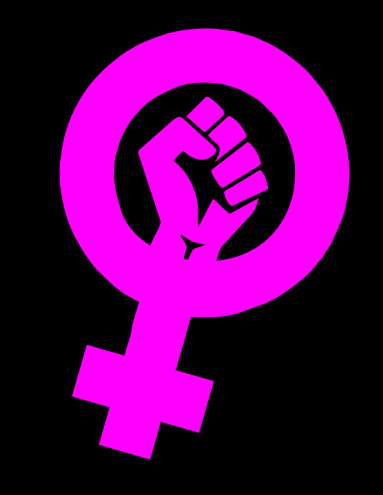 Black background with pink symbol for the female sex with a closed fist in the middle.
