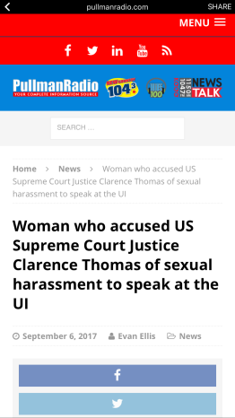 "Headline from Pullman Radio News website stating, ""Woman who accused US Supreme Court Justice Clarence Thomas of sexual harassment to speak at the UI"""