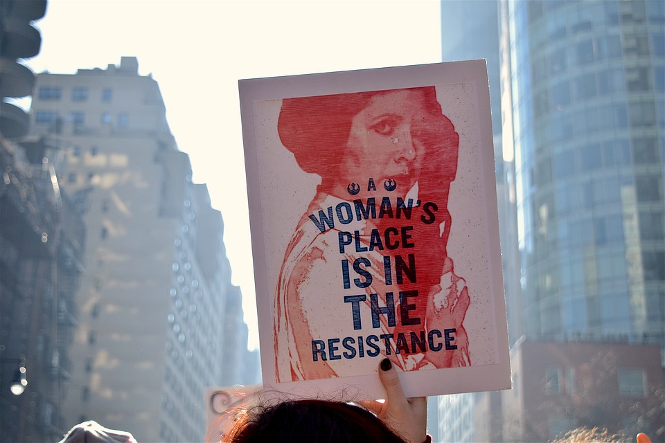 "Sign of Princess Leia from Star Wars that reads, ""A woman's place is in the resistance."""