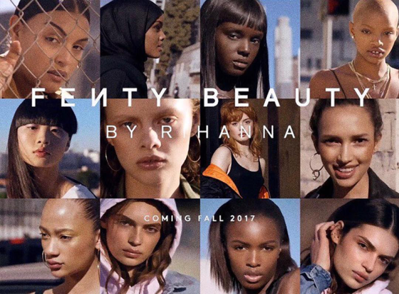 "Womxn with all different skin tones model Rihanna's makeup line. The words ""Fenty Beauty by Rihanna Coming Fall 2017"" over their faces."