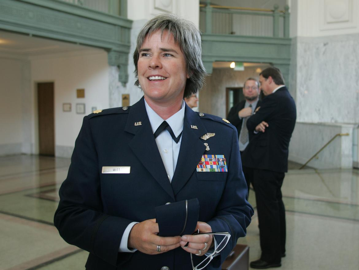 A portrait of Margaret Witt in her air force uniform.
