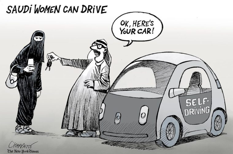 """Saudi man saying, """"Here's your car."""" He passes the keys to a Saudi woman and the car is a self-driving car. Essentially defeating the purpose of driving at all."""