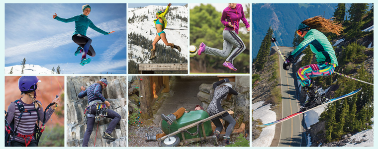 Seven women, in various Title Nine clothing skiing, climbing, swimming and doing all kinds of active and fun activities.