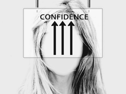 "Black and white photo of a woman from the neck up. Her face is blurred. There is a box centered on the woman's head with the text ""CONFIDENCE"" and three black arrows pointing up toward the text."