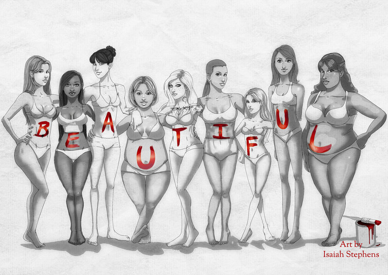 """A drawing of nine women of various body sizes standing together in their undergarments. Each woman has a letter painted on her stomach, which together it spells """"beautiful."""" Art by Isaiah Stephens"""