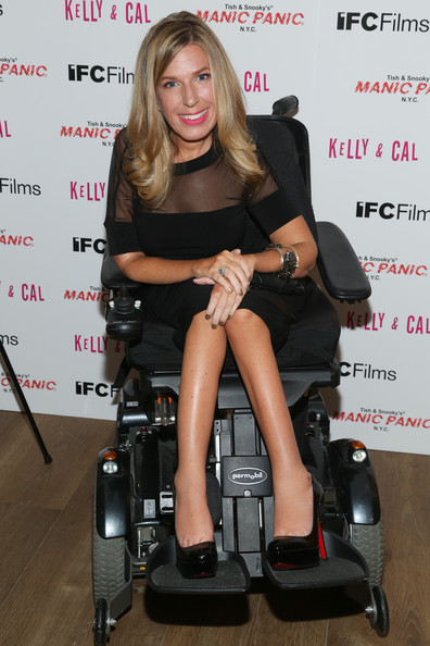 Sheypuk sits in her motorized wheelchair outside the screening of a show in New York.