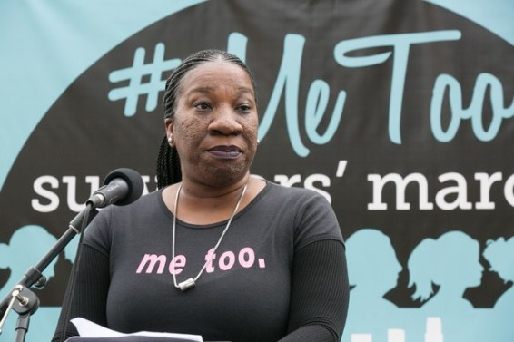 "Women's rights activist Tarana Burke wearing a ""Me too"" shirt"