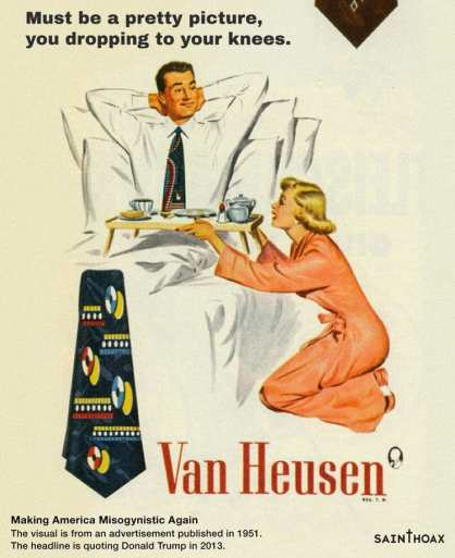 Women serves her husband in bed in a 1950's advertisement for ties