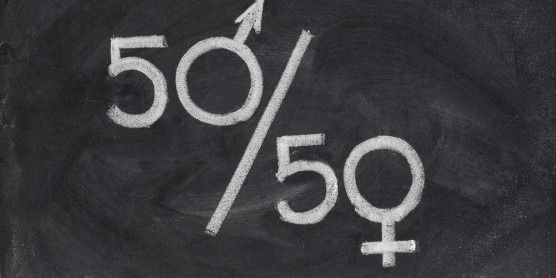 A 50/50 fraction is written on a chalk board with the 0 being the male and female gender sign