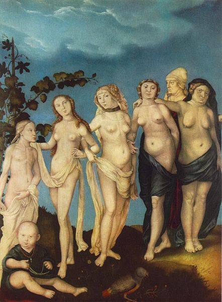 Renaissance artwork depicting seven nude women standing in a row