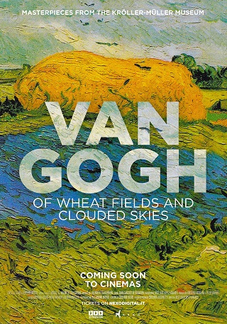"Advertisement for ""Van Gogh of Wheat Fields and Clouded Skies"" with one of Gogh's landscapes as the background"