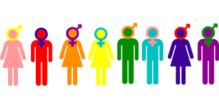 Colorful graphic of androgynous figures illustrating different genders