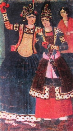 Qajar Iranian artwork depicting two lovers with similar features and clothing