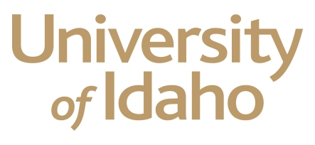 "Logo for the University of Idaho that says ""University of Idaho in gold lettering"