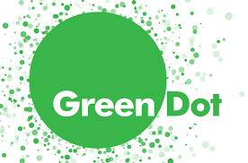 "Green Dot logo which includes a variety of green dots of all different sizes in the background and the words ""Green Dot"" at the center."