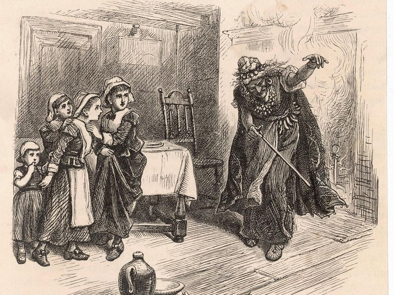 Three colonial girls cowering from witch