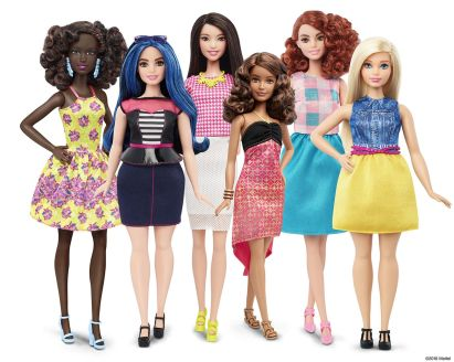 The redesigns of Barbie include a tall thin black Barbie, an average height plus size white barbie with blue hair, a tall thin white barbie with brunette hair, a short thin latino barbie, a tall thin red-head barbie and an average height plus size blonde barbie.