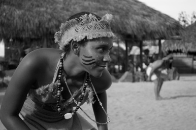 Woman in traditional Taino costume