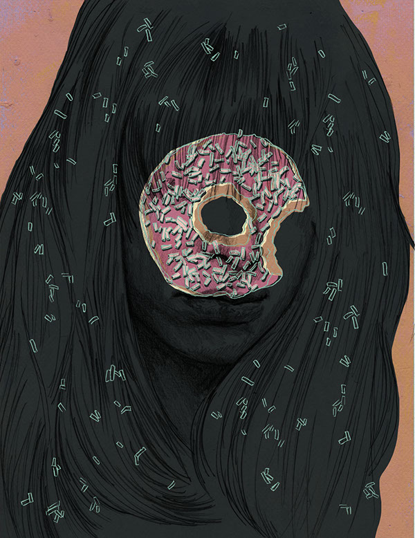 Image of a girl all in black with a donut covering her face