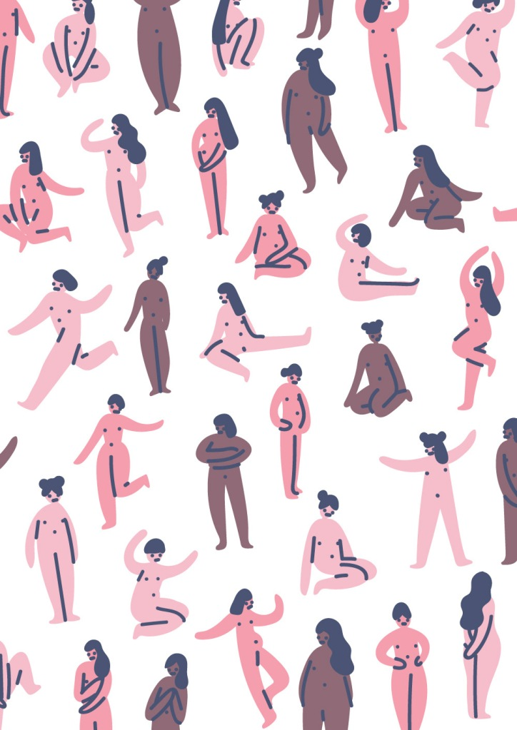 A design depicting drawings of nude, female bodies in all shapes, sizes and colors.