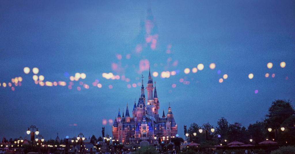 Disney World Castle at night.