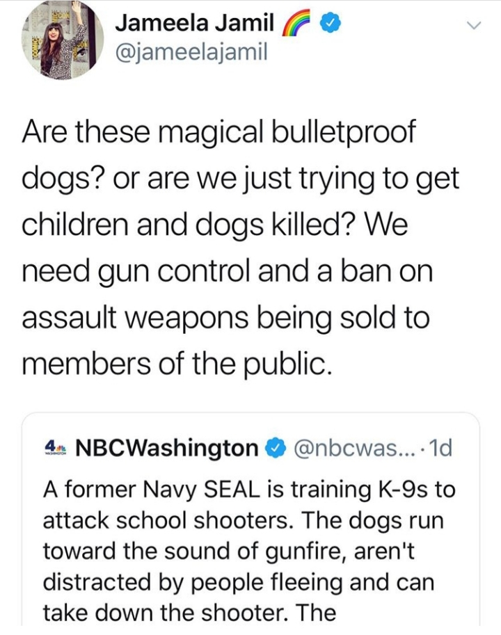 """Jameela's response to a tweet of an article link about A Navy SEAL who is training K-9s to attack school shooters. Her response says, """"Are these magical bulletproof dogs, or are we just trying to get children and dogs killed? We need gun control and a ban on assault weapons being sold to members of the public."""""""