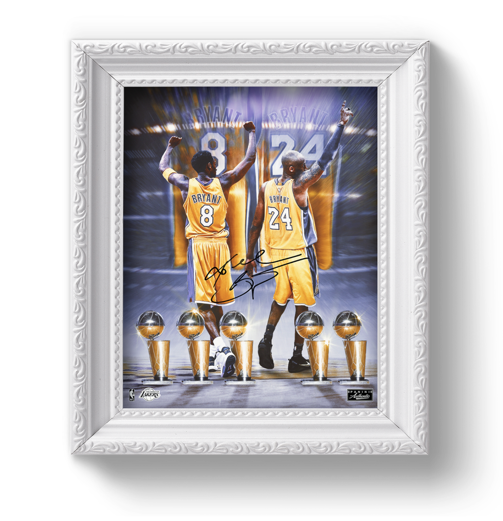 Image of Kobe Bryant in a yellow basketball uniform at the beginning and end of his career. Five trophies line the bottom of the image and it is enclosed in a white picture frame.