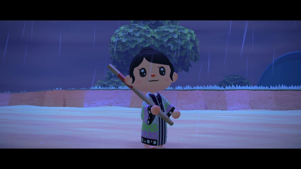 An animated character with a butterfly design robe standing in the rain.