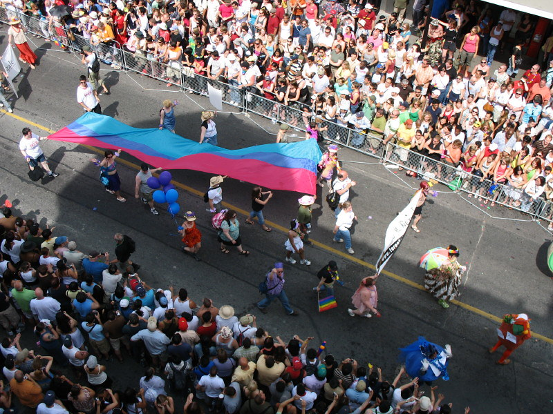 Image of a street parade from a birds-eye view. Crowds of people stand on either side of a street, tightly packed together. In the center, people holding balloons and flags walk by. Ten people in the center hold a large blue, purple, and pink flag above their heads.